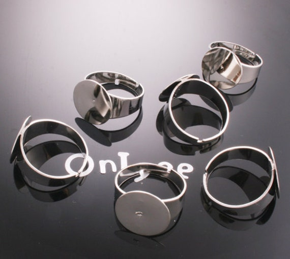 10PCS- Nickel Free And Lead Free White Gold Plated Brass Adjustable Pad RING Base of 15mm pad(A106)