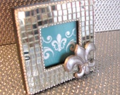 Mirrored Glass Silver Fleur De Lis Photo Frame