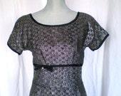 """On Sale DAZZLER Vintage 1950s """"Junior Vogue"""" Silver Metallic Dress"""
