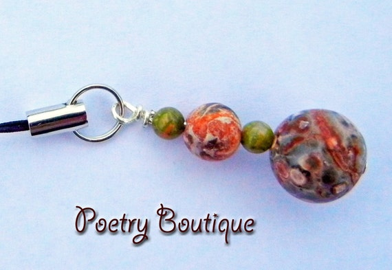 Charm - Cell Phone Charm - Beaded Jasper Stone