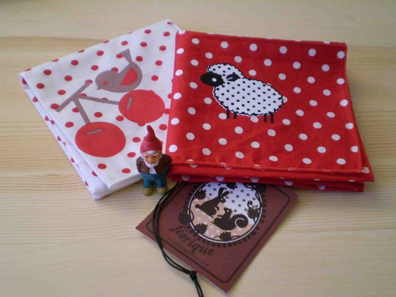"cute red polka dot ""Cherry"" and ""Black Sheep"" hand printed handkerchief (pick one)"