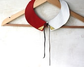 SUMMER SALE - Leather collar necklace in red and white - K a t e
