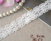 Lace Trim 2.4cm colour:beige colour stretch lace trim 1yard item no 10471