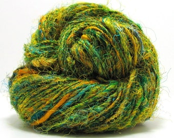 Elements Recycled Silk Yarn in Meadow by Mango Moon