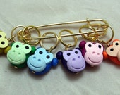 Stitch Markers RAINBOW MONKEY for Knit or Crochet set of 6