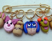 Stitch Markers HUNDRED Acre  WOOD  for Knit or Crochet set of 6 Pooh Eeyore Piglet