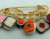 Stitch Markers Sushi Bar inspired  for Knit or Crochet set of 6