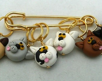 Stitch Markers CATS for Knit or Crochet set of 6 Kittens Siamese