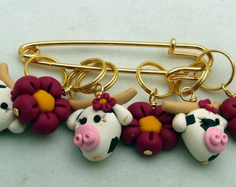 Stitch Markers DAISY COW for Knit or Crochet set of 6