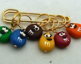 Stitch Markers Chocolate Covered CANDY   for Knit or Crochet set of 6
