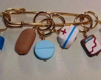 Stitch Markers NURSES HEAL the heart  for Knit or Crochet set of 6 Chart Bandaid cap pill
