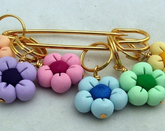 Stitch Markers PASTEL FLOWERS  for Knit or Crochet set of 6