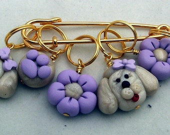 Stitch Markers POODLE  for Knit or Crochet set of 6
