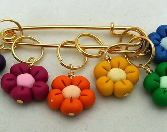 Stitch Markers BRIGHT Rainbow FLOWERS  for Knit or Crochet set of 6
