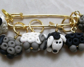 Stitch Markers SHEEP  for Knit or Crochet set of 6 EWE Wool