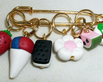 Stitch Markers TASTE of SUMMER  for Knit or Crochet set of 6 Snowcone Ice Cream Sandwich Watermelon