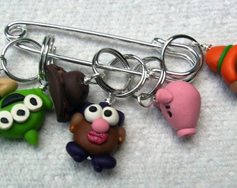 Stitch Markers TOY MOVIE inspired  for Knit or Crochet set of 6 Hamm alien great story