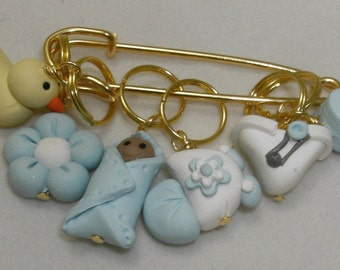 Stitch Markers ITS a BOY  for Knit or Crochet set of 6 Baby