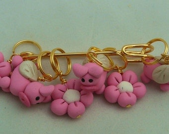 Stitch Markers When PIGS FLY  for Knit or Crochet set of 6