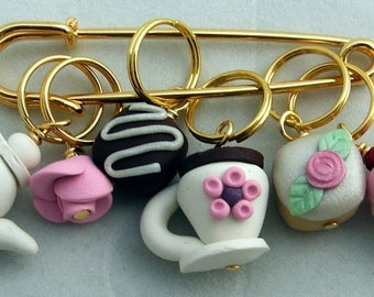 Stitch Markers TEA for TWO  for Knit or Crochet set of 6 Pot petit four