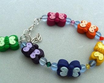 Child Bracelet BUTTERFLY Swarovski Crystal
