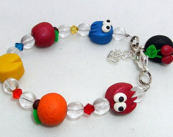 PAC Monster Child Bracelet  Polymer Clay Swarovski Crystals Ghosts Blinky