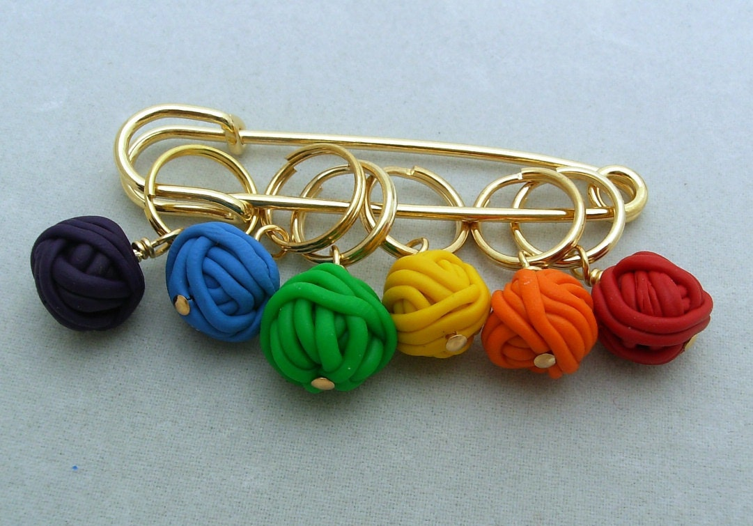 Knitting Markers Homemade : Stitch markers yarn balls for knit or crochet set of