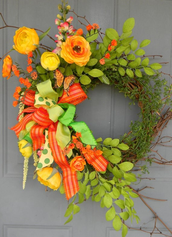 Pretty as a Butterfly...Tangerine and Yellow Summer Floral Wreath