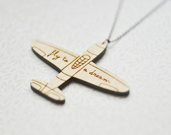 "Wood Pendant Aircraft with the inscription ""Fly to a dream""(Laser cut )"