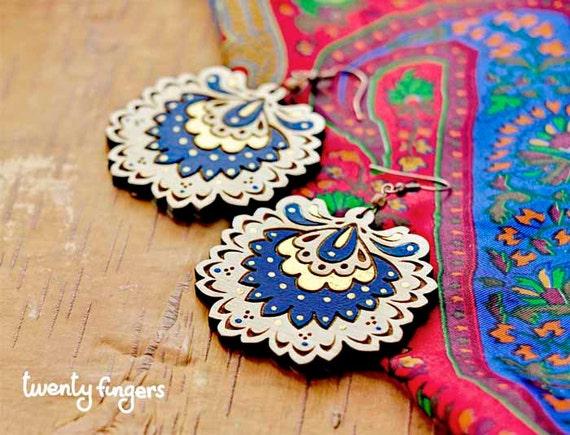 Wood Laser cut Earrings with traditional Russian motifs