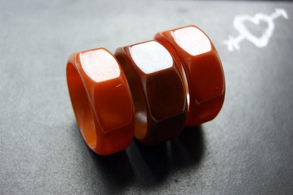 RESERVED 3 Vintage Hexagonal Bakelite Napkin Rings Orange and Brown