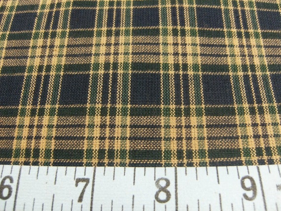 Fabric Destash 1 Yard Cotton Homespun Navy, Green and Tan Plaid