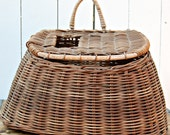 Vintage Woven Fishing Creel Basket
