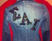 Upcycled Sigma Alpha Iota Jacket Ladies Small Benetton of Italy Cotton Denim
