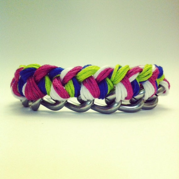 Chain Bracelet in silver pink electric blue neon green and white embroidery floss.