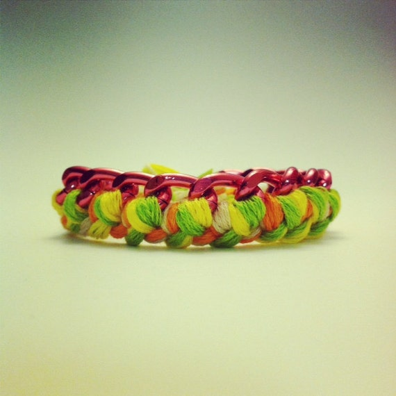 Chain Bracelet in pink green orange yellow and white embroidery floss.