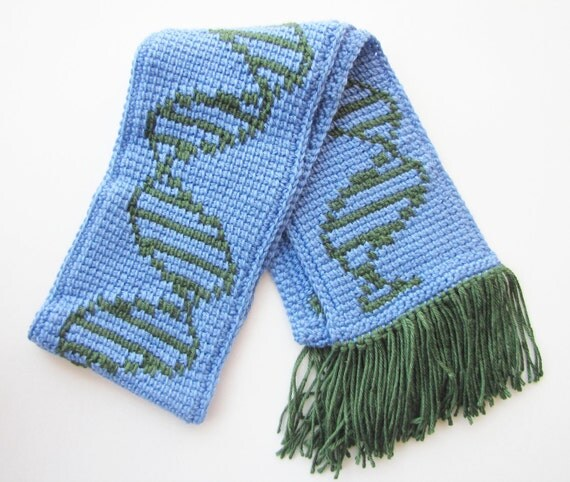 DNA Biology Scarf in Blue and Green - Soft Acrylic Yarn - Geekery