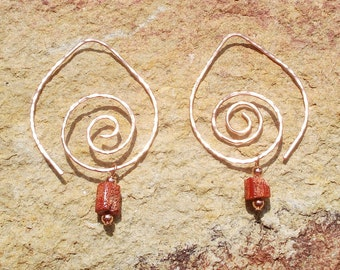 Hammered Copper Swirl Earrings with Detachable Coral and Turquoise Beads
