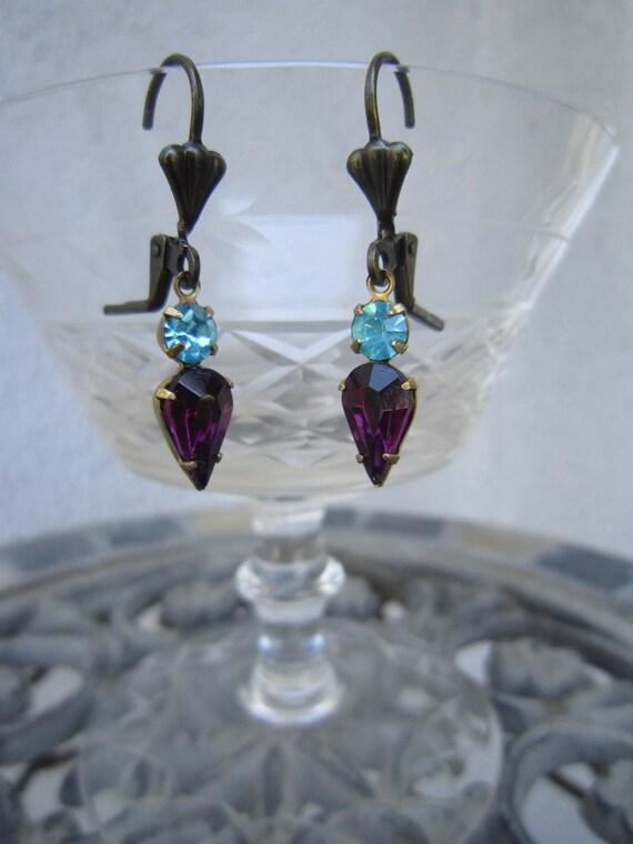 Vintage purple and turquoise blue rhinestone earrings, vintage stones