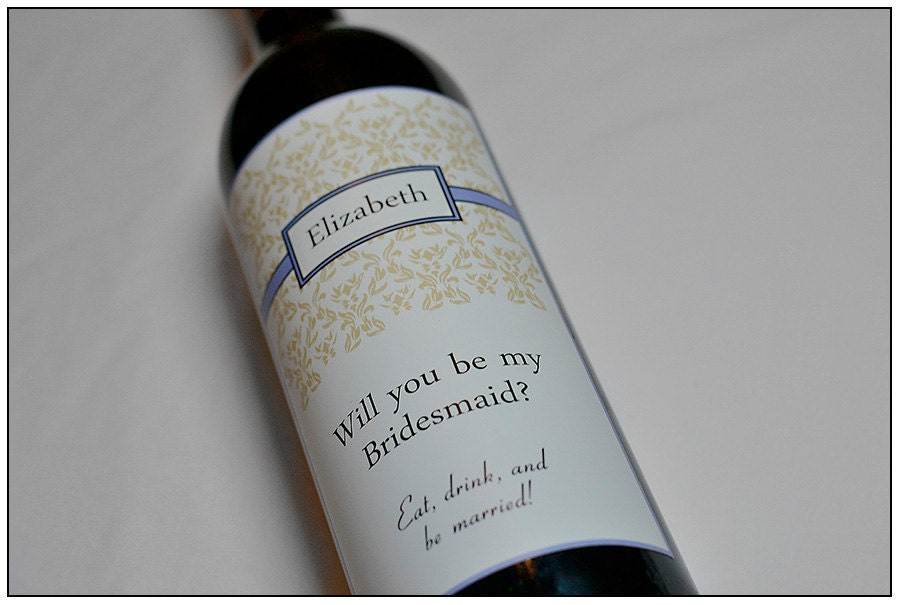 Custom Wine Labels For Wedding Gift : Custom Bridesmaid Wedding Wine Label Will by ClassicWeddingDesign