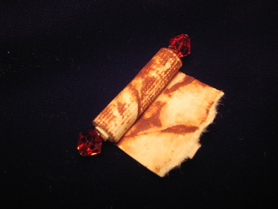 Partially Open Spell Scroll - Dollhouse Miniature