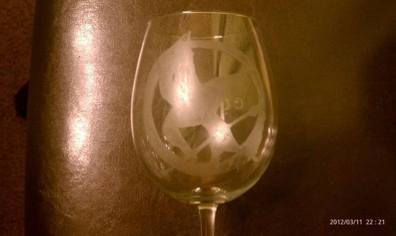Mocking Jay Wine Glass