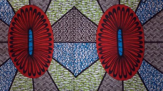 African Real Dutch Wax Print Fabric 100% Cotton 1 Yard