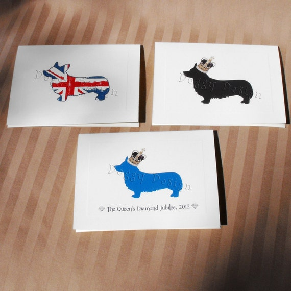 3 Pack Greeting Cards for Diamond Jubilee Featuring Corgi Dog
