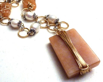 Wire Wrapped Tangerine Orange Butter Jade and Freshwater Pearls Necklace