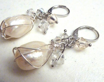 Ivory Freshwater Pearls Wire Wrapped Earrings With Swarovski Crystals