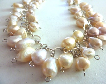 Pale Cream Pink Freshwater Pearls Cluster Necklace
