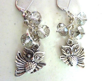 Wise Owl Teacher or Graduate Silver Crystal Cluster Earrings