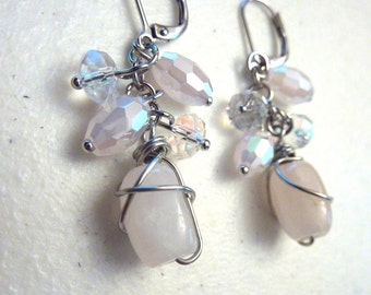 Rose Quartz and Crystals Cluster Earrings