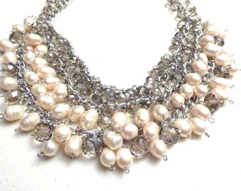 Ivory White Freshwater Pearls and Crystals Bib Necklace